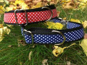 Halsband 'gepunktetes Rot und Blau'
